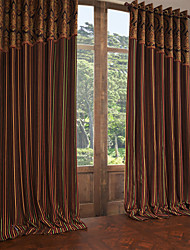 Two Panels Curtain European Neoclassical , Stripe Polyester Material Curtains Drapes Home Decoration For Window