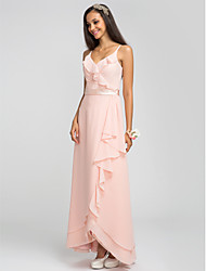 Asymmetrical Chiffon Bridesmaid Dress Sheath / Column Spaghetti Straps Plus Size / Petite with Sash / Ribbon / Cascading Ruffles