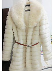 Pretty Long Sleeve Turndown Faux Fur Party/Casual Coat