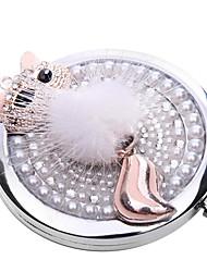 Porta-trucco Specchio Fantasia animale 7.0 x 7.0 x 2.5 Bianco