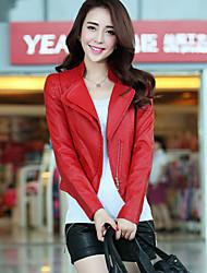 SIBOSHE Shirt klassisch Reverskragen Schlank Spleißen PU Ledermantel (Red)