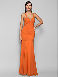 Mermaid / Trumpet Halter Floor Length Chiffon Prom Dress with Crystal by TS Couture®