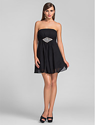 Homecoming / Cocktail Party / Wedding Party Dress - Black Plus Sizes / Petite A-line Strapless Short/Mini Chiffon