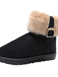 Women's Black Buckle Boots with Fur