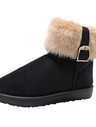 Damen Schwarz Buckle Boots mit Fell