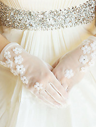 Chiffon di mano polso lunghezza Guanto di nozze con i fiori