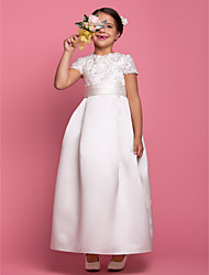 Lanting Bride A-line Ankle-length Flower Girl Dress - Satin Short Sleeve Jewel with Beading / Draping / Lace / Sash / Ribbon
