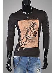 Homens novos Chegou T-Shirt Magro Impresso