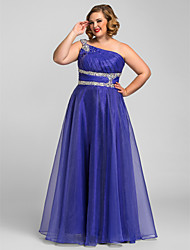 TS Couture Plus Size Prom Formal Evening Quinceanera Dress - Open Back / A-line / Ball Gown / Princess One Shoulder