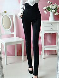 Black Classic Fit Pantalones de cintura alta de DOWISI Mujeres