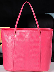 LULU Korean Solid Color PVC Tote(Fuchsia)