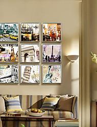 Arquitectura famosa con Montage Paisaje Framed Canvas Conjunto de 9