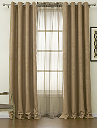 Two Panels Happy Sunflower Blackout Curtain with Sheer Set