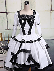 White and Black Lace Trim Cotton Gothic Lolita Dress