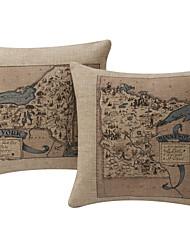 Комплект из 2-Нью-Йорк и Миннесота Old Map хлопок / лен Подушка декоративная крышка