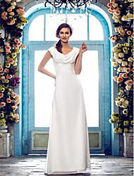 Lanting Bride Sheath/Column Petite / Plus Sizes Wedding Dress-Floor-length Cowl Chiffon
