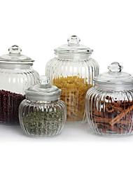 4 peças de vidro redonda Set vasilha com tampa (650ml, 125ml, 2000ml, 2200ML)