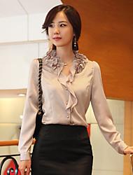 Ruffle Puff camisa de manga elegante de las mujeres