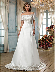 A-line Plus Sizes Wedding Dress - Ivory Sweep/Brush Train Off-the-shoulder Satin