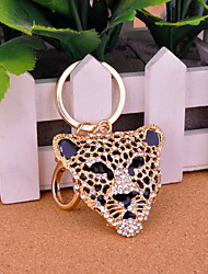 Legal liga de ouro com cristais de rocha Leopard Cabeça Keychain