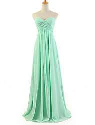 DRESSTELLS Women's Light Green Bridesmaid Sweeping  Full Dress