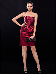 Cocktail Party / Wedding Party Dress - Burgundy Plus Sizes / Petite Sheath/Column Strapless Short/Mini Stretch Satin