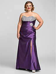 TS Couture Plus Size Prom Formal Evening Dress - Open Back Sheath / Column Sweetheart Floor-length Taffeta with Beading Side Draping
