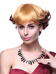 Capless High Quality Synthetic Short Wavy Mixed Color Hair Wigs