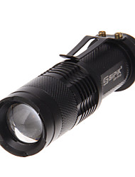 3-mode Cree XP-E Q5 LED torcia zoom con clip & caricatore (240LM, 1xAA, Nero)