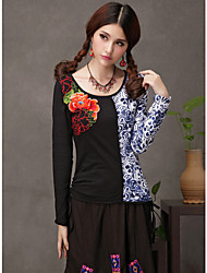 Women's Ethnic Chinese Style Floral Embroidery Color Clock T Shirt Tops