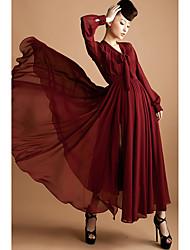 Women's Dress , Chiffon Beige/Black/Green/Red Vintage/Maxi