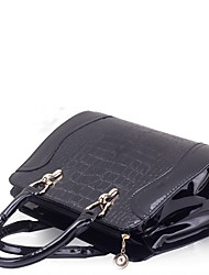 Lady Fashion Crocodile Veins PU Leather Tote/Crossbody Bag(Black)
