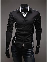 Shangdu Hombres camiseta de manga larga para adelgazar Personal (Negro)