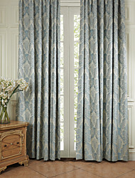 Two Panels Curtain Neoclassical , Floral / Botanical Bedroom Polyester Material Curtains Drapes Home Decoration For Window