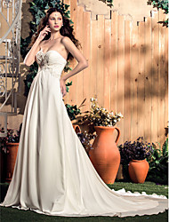 LAN TING BRIDE A-line Wedding Dress - Classic & Timeless Glamorous & Dramatic Simply Sublime Court Train Sweetheart Chiffon withAppliques