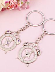 Alarm Clock Key Ring With Rhinestone(Set of  4 Pairs)