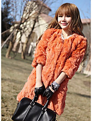 Half Sleeve Collarless Rabbit Fur Party/Casual Coat(More Colors)