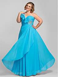 TS Couture Prom Formal Evening Military Ball Dress - Open Back Sheath / Column One Shoulder Floor-length Chiffon withCrystal Detailing