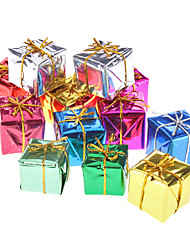 "12-Pack 3cm 1"" Shiny Gold Gift Box Christmas Ornaments"