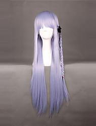 Pelucas de Cosplay Dangan Ronpa Kyoko Kirigiri Morado Largo Anime/Videojuego Pelucas de Cosplay 80 CM Fibra resistente al calor Mujer