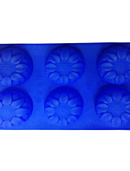 Lotus Shaped Bread Cube Tray Silicon Food Mold with 6 Lattices