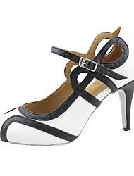 Women's Dance Shoes Latin/Ballroom Leatherette Heel White Customizable