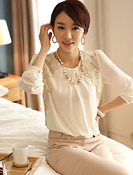 Women's White Blouse/Shirt , Casual/Work Long Sleeve