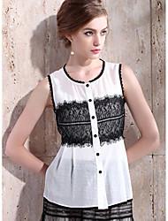 RTS Elegant Lace Stitching Jacquard Ruffle Hem Tops