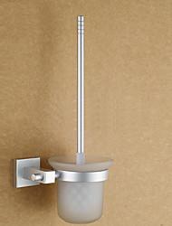 Contemporary Anodização Alumínio Acabamento Toiletbrush titular com escova de vaso sanitário