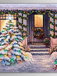 Christmas Painting Winter Silent Night Snowing Holiday Gift Oil Painting on Canvas Ready to Hang