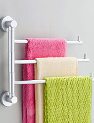 Contemporary Rotatable Aluminum 3 Bars Towel Bars
