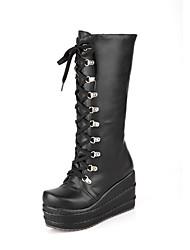 botas de tacón cuña de la plataforma de las mujeres mitad de la pantorrilla más colores disponibles