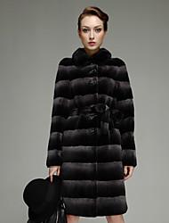 Brilliant Long Sleeve Turndown Rex Rabbit Fur Party/Casual Coat