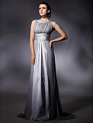 Sheath / Column Jewel Neck Sweep / Brush Train Chiffon Stretch Satin Evening Dress with Draping by TS Couture®